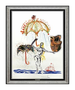 Salvador Dali Color Lithograph Authentic Hand Signed Large Collage Surrealism