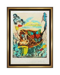 Salvador Dali Color Lithograph Hand Signed Dawn Papillon Anciennes Surreal Art