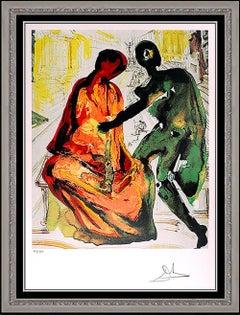 Salvador Dali Color Lithograph Hand Signed Les Amoureux Authentic Surreal Art