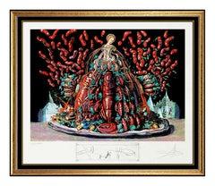 Salvador Dali Color Lithograph Hand Signed Lobster Diners De Gala Original Art