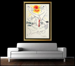Salvador Dali Color Lithograph Hand Signed Surreal Artwork Conquest of Cosmos