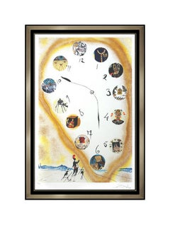 Salvador Dali Color Lithograph Hand Signed Time And Space Surreal Clock Artwork