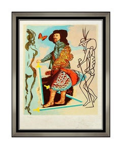 Salvador Dali Courtier Original Color Lithograph Hand Signed Butterfly Portrait