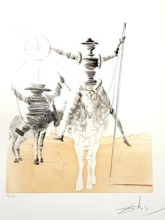 Salvador Dali - Don Quixote and Sancho - Original Hand Signed Etching