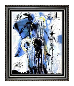 Salvador Dali Don Quixote Limited Edition Glazed Ceramic Tile Signed Surreal Art