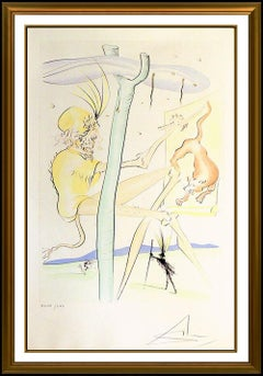Salvador Dali Drypoint Pochoir Etching Hand Signed Monkey And The Elephant Art