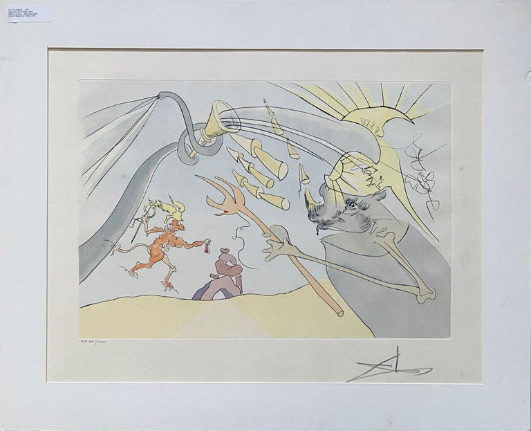 Salvador Dali Elephant Signed Etching Engraving Surreal Color Lithograph Pochoir For Sale 8