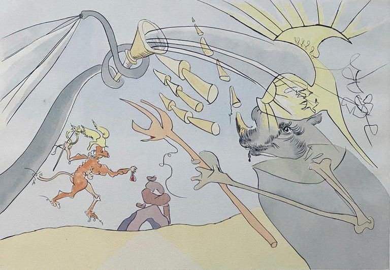 Salvador Dali Elephant Signed Etching Engraving Surreal Color Lithograph Pochoir - Print by Salvador Dalí