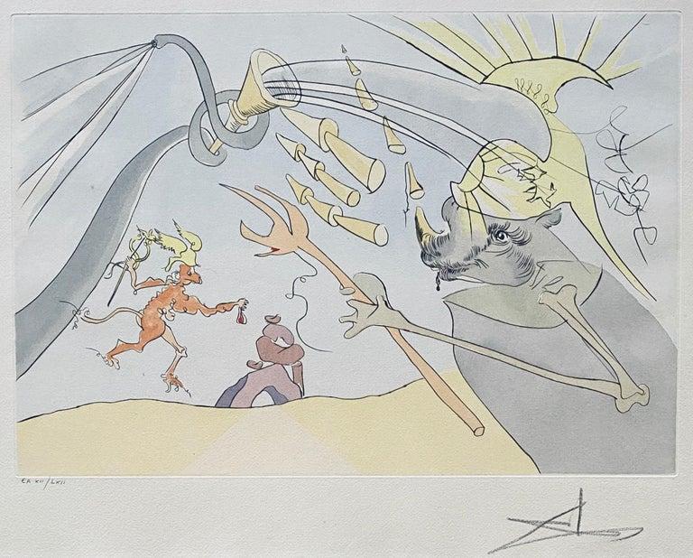 Salvador Dali Elephant Signed Etching Engraving Surreal Color Lithograph Pochoir - Surrealist Print by Salvador Dalí