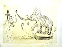 Salvador Dali - Elephants - The Circus - Rare Parchment Hand-Signed Etching