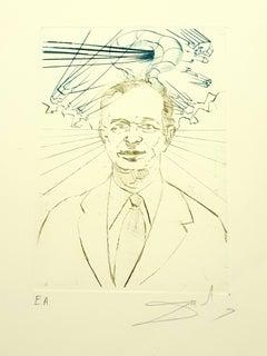 Salvador Dali - Enrico Fermi - Original Handsigned Engraving