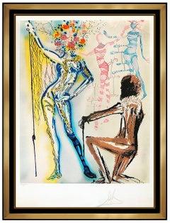 Salvador Dali Fashion Designer Original Color Lithograph Hand Signed Surreal Art