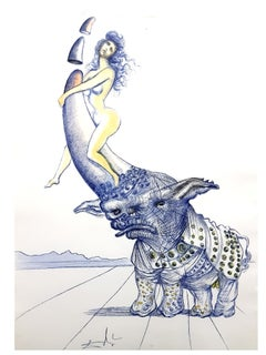 Salvador Dali - Girl on Rhinoceros Horn - Original Etching