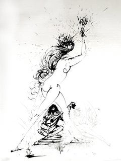 Salvador Dali - Girl With Torch - Original Etching on Silk