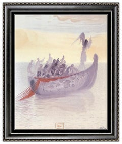 Salvador Dali Glazed Ceramic Ship of Souls Divine Comedy Canto Signed Artwork