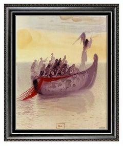 Salvador Dali Glazed Ceramic Ship of Souls Divine Comedy Canto Signed Artwork