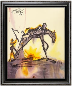Salvador Dali Glazed Ceramic Signed Surrealism Dalinean Horse Of Labor Artwork