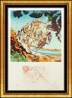 Salvador Dali Homer Return Of Ulysses Etching Hand Signed Large Surreal Artwork