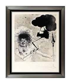 Salvador Dali Jupiter Original Color Engraving Hand Signed Surreal Portrait Art