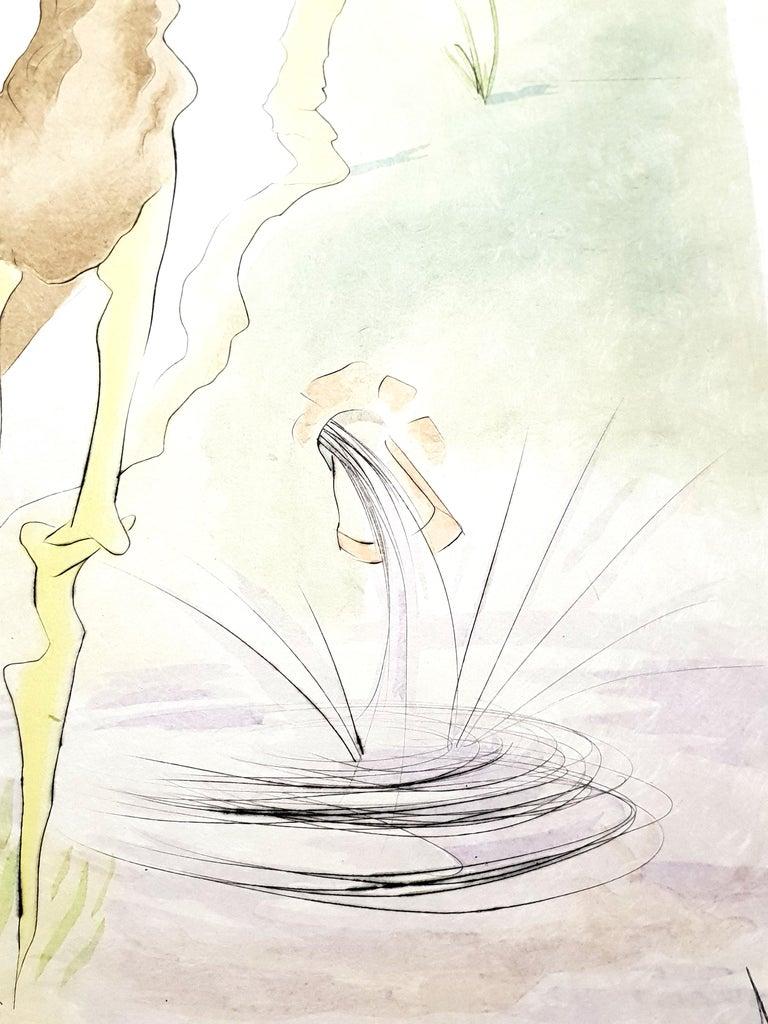 Salvador Dali - Le Cerf from Le Bestiaire de la Fontaine - Signed Engraving - Beige Figurative Print by Salvador Dalí