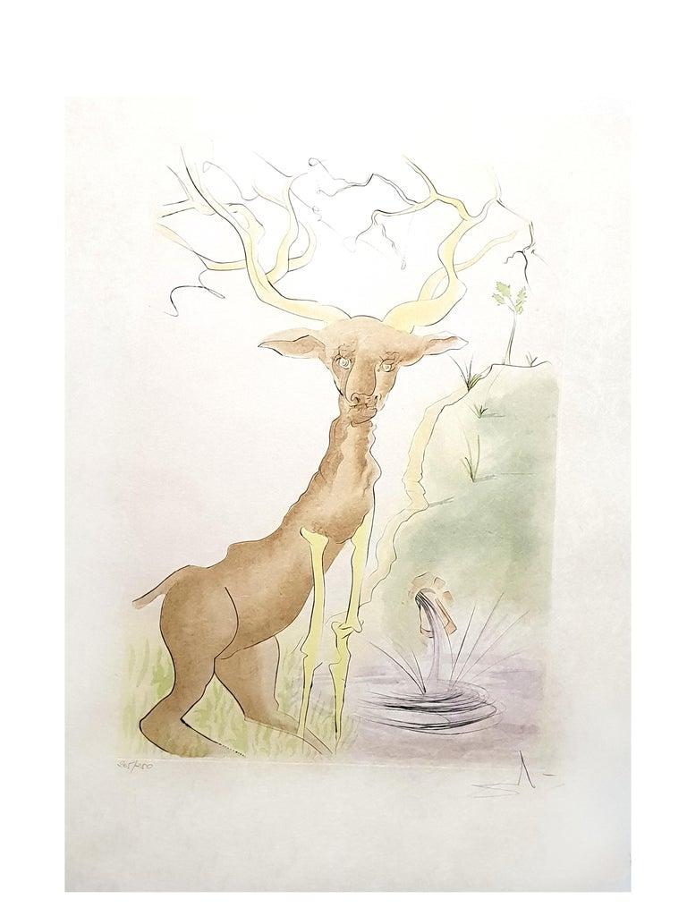Salvador Dali - Le Cerf from Le Bestiaire de la Fontaine - Signed Engraving For Sale 3
