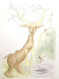 Salvador Dali - Le Cerf from Le Bestiaire de la Fontaine - Signed Engraving