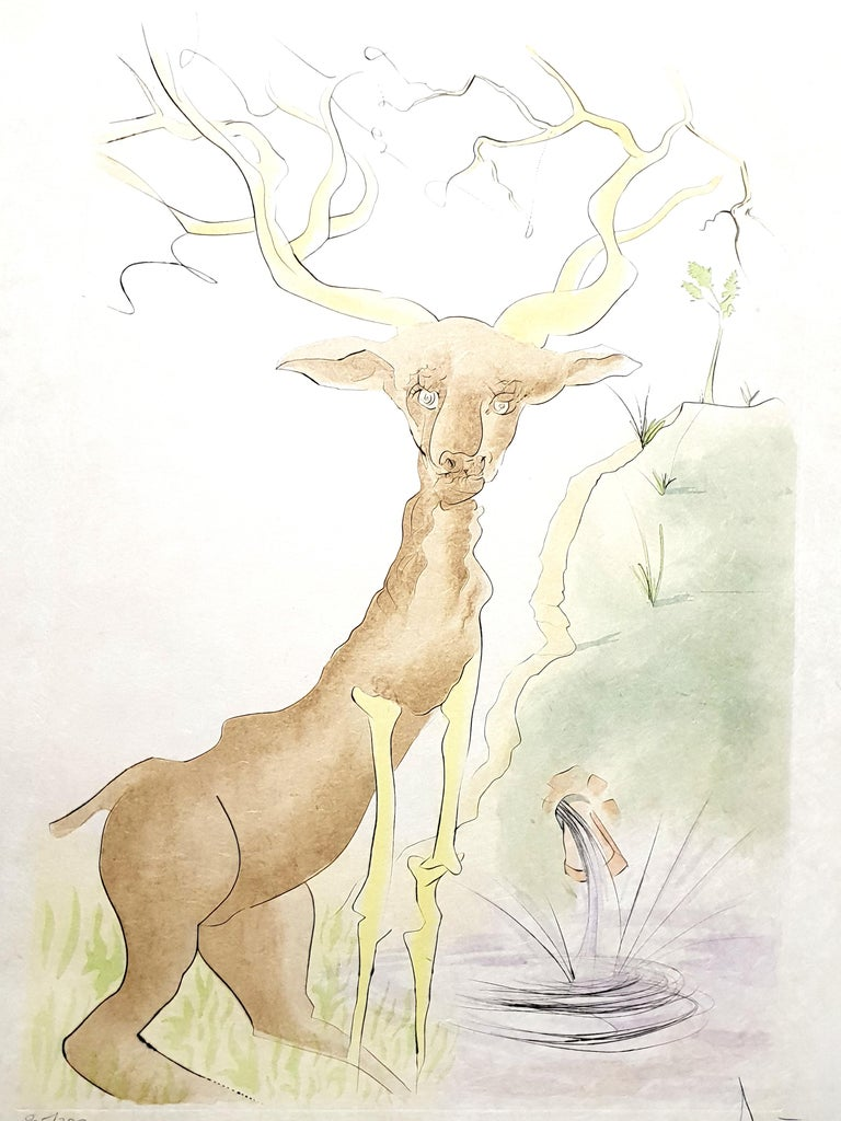Salvador Dalí Figurative Print - Salvador Dali - Le Cerf from Le Bestiaire de la Fontaine - Signed Engraving