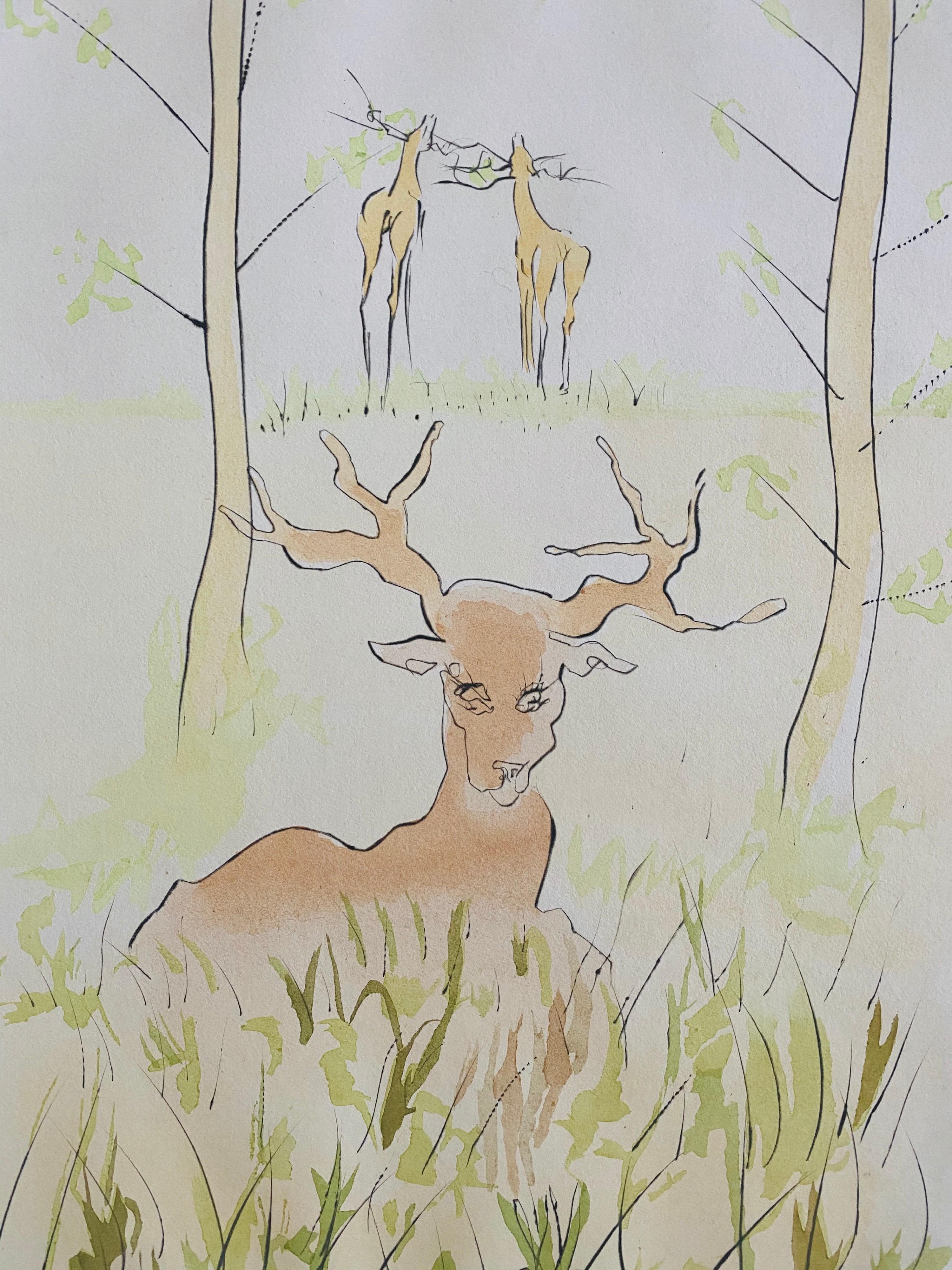 Salvador Dali, Le Cerf Malade Signed Etching Engraving, Color Lithograph Pochoir