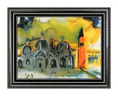 Salvador Dali Limoges Porcelain Plaque Place Saint Marc Venice Homage Signed Art