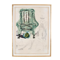 "Salvador Dali Lithograph & Hand-Etched 68/250 ""Breathing Pneumatic Armchair"""