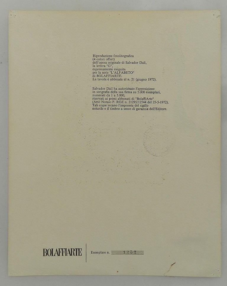 Salvador Dali Lithograph Surreal G for Bolaffiarte Limited Edition 1972  For Sale 2