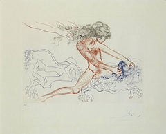 Salvador Dali Man Samson and Dellilah Art Surrealist Engraving