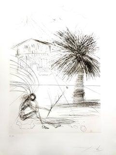 Salvador Dali - Mission Dolores - San Francisco - Original Hand-Signed Etching