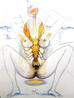 Salvador Dali - Nude and Lobster - Original Etching