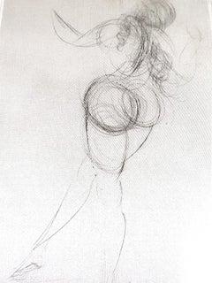 Salvador Dali - Nude - Original Etching on Silk