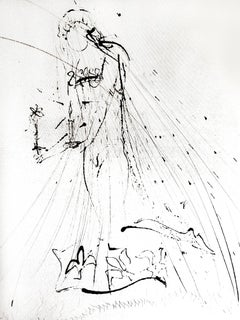 Salvador Dali - Nude with Flower - Original Etching on Silk