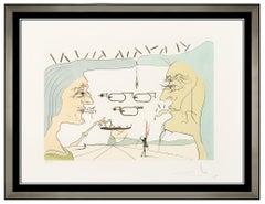 Salvador Dali Original Color Engraving Hand Signed Le Telegraphe Da Vinci Art