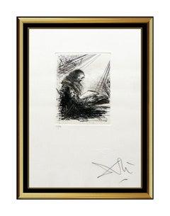 Salvador Dali Original Color Etching HAND SIGNED Faust Lisant Surreal Artwork