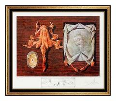 Salvador Dali Original Color Lithograph Les Diners Sputniks Hand Signed Surreal