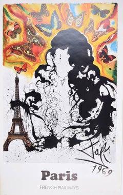 Salvador Dali Paris France original French travel poster SNCF Railway