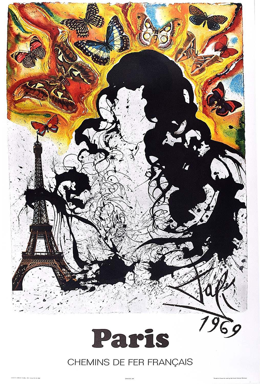 Salvador Dali Paris Original French Poster SNCF on Wove