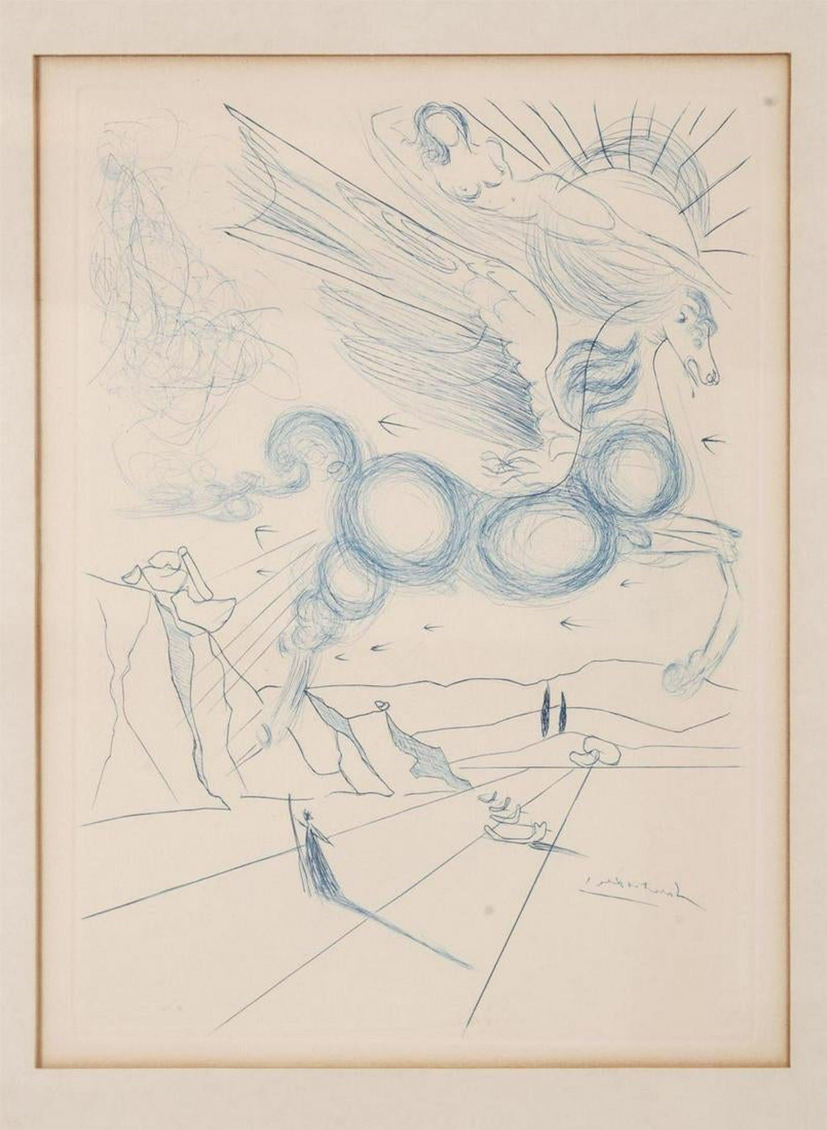 Salvador Dali Pegasus in Flight with Angel, Surrealist Horse Etching