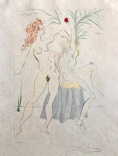 Salvador Dali Pochoir Etching Engraving Adam & Eve Japon Paper Gold Embellished
