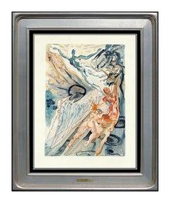 Salvador Dali Purgatory Canto Divine Comedy Woodblock Engraving Surreal Framed