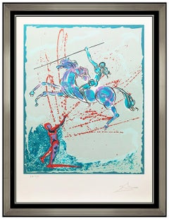 Salvador Dali Rare Original Color Lithograph Joan of Arc Hand Signed Surreal Art