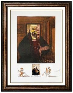 Salvador Dali Rembrandt Portrait Color Lithograph Hand Signed Surreal Large Art