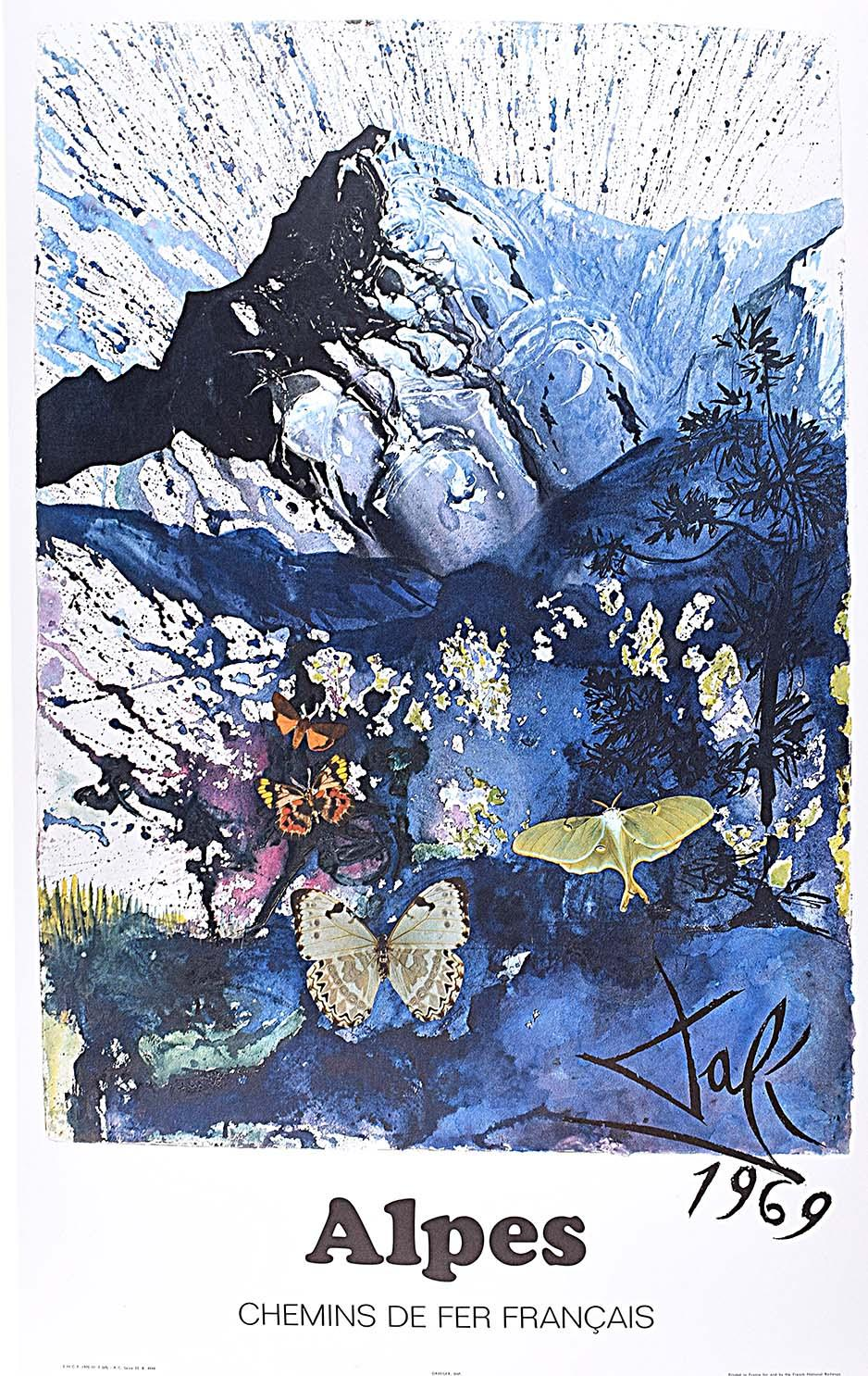 Salvador Dali The Alps Les Alpes Skiing Original French Poster SNCF on Wove