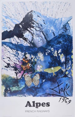 Salvador Dali The Alps Les Alpes Skiing original French travel poster SNCF