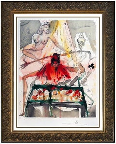 Salvador Dali The Cards Fortell Carmens Death Hand Signed Color Lithograph Art
