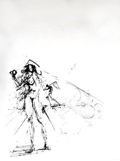 Salvador Dali - The Fisherman - Original Etching on Silk